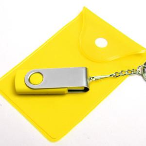 Флэш-карта в металлическом корпусе с пластиковыми вставками.