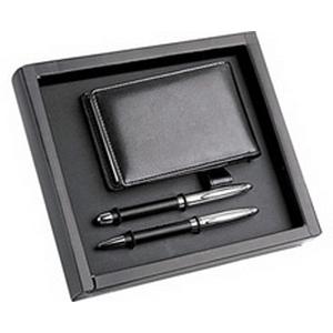 Набор: ручка шариковая и роллер, визитница с блокнотом