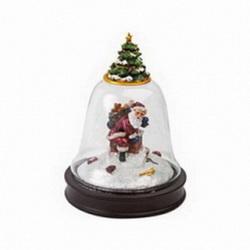Новогоднее украшение в виде колокольчика с Дедом Морозом и ёлкой