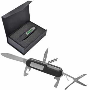Нож многофункциональный, c фонариком и уровнем в подарочной упаковке