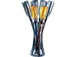 Ваза стеклянная с шестью фужерами Тюльпаны