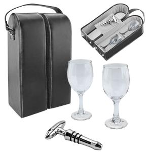 Кейс для бутылки с двумя бокалами и штопором